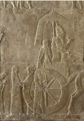 King Ashurbanipal on his Chariot and Elamite Prisoners